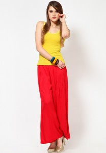 "Buy the Plain Red Palazzo Pants by ""jabongworld.com"""