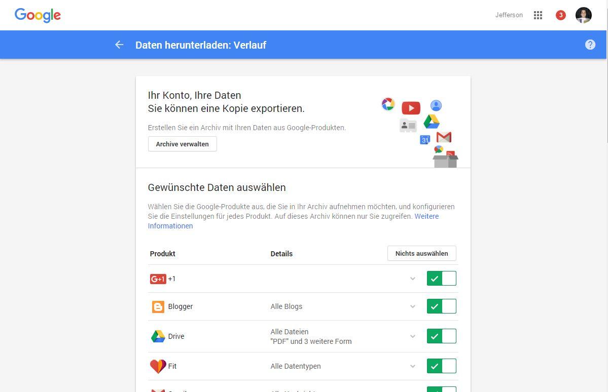 Google Takeout und was nutzt es mir bei den Produkten von Google